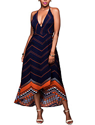 Women's Going out / Party/Cocktail / Club Sexy / Simple Swing DressStriped Halter Maxi Sleeveless Red Polyester Summer
