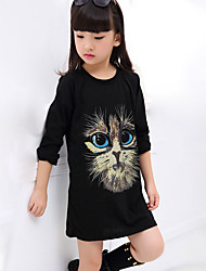 Girl's Casual/Daily Print DressCotton Fall Black