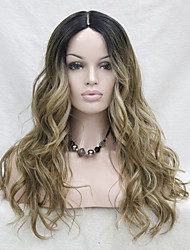 High Quality Heat Resistant Synthetic Omber Black Root / Light Golden Brown Mix Gloden Blonde  Wavy Lace Front Long Wig