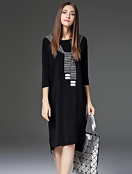 CELINEIA Women's Casual/Daily Simple Sheath DressStriped Round Neck Knee-length / Asymmetrical  Sleeve