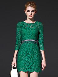 FRMZ  Women's Formal Simple Sheath DressSolid Round Neck Above Knee Sleeve Green Cotton / Nylon