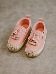 Girls' Loafers & Slip-Ons Suede Fall Casual Walking Magic Tape Flat Heel White Black Blushing Pink Flat