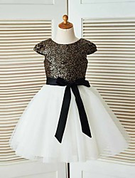 A-line Knee-length Flower Girl Dress - Tulle / Sequined Short Sleeve Jewel with Sash / Ribbon / Tiers