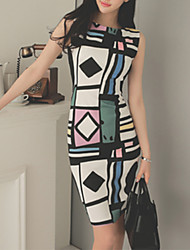 Women's Vintage Geometric Bodycon Dress,Round Neck Knee-length Polyester