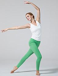 Pantalones de yoga Medias/Mallas Largas Transpirable Cintura Media Eslático Ropa deportiva Blanco Verde Negro MujerYoga Pilates Ejercicio