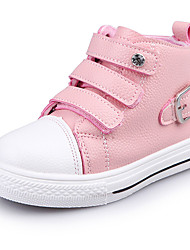 Girl's Sneakers Spring / Fall / Winter Comfort Leather Outdoor / Casual Low Heel Buckle Black / Pink / Red Walking