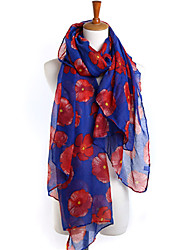 Women Flower Pattern  Vintage Casual Chiffon Rectangle Print Scarf Shawl Beach Towel
