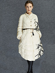 Women's Floral White Down CoatSimple Round Neck Long Sleeve