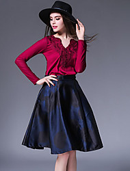 Women's Going out Vintage A Line DressPatchwork V Neck Knee-length Long Sleeve Blue / Red Nylon Fall Mid Rise Inelastic