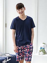 hommes jersey simple pyjama Siut deux pièces