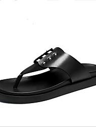 Masculino-Chinelos e flip-flops-Sandálias-Rasteiro-Preto-Camurça-Casual