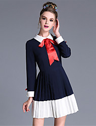 AUFOLI Plus Size Women Vintage Bow Color Block Pleat Patchwork Long Sleeve Dress