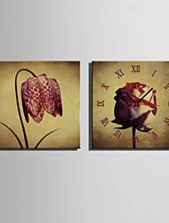 Квадратный Модерн Настенные часы,Прочее Холст 40 x 40cm(16inchx16inch)x2pcs/ 50 x 50cm(20inchx20inch)x2pcs/ 60 x 60cm(24inchx24inch)x2pcs