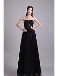 Formal Evening Dress A-line Sweetheart Floor-length Lace / Tulle with Appliques / Beading