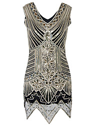 Women's Formal / Party/Cocktail Vintage 1920s Bodycon / Sheath Dress,Paisley V Neck Knee-length Sleeveless Polyester