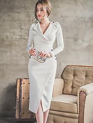 Women's Work Sexy Sheath DressSolid Cowl Knee-length Long Sleeve