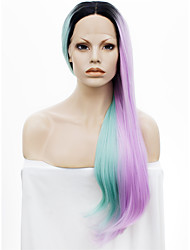 IMSTYLE 24New Style Green Pink Two Tones With Dark Root Straight Synthetic Lace Front Wig
