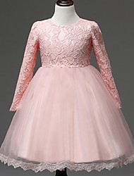 Ball Gown Knee-length Flower Girl Dress - Organza Long Sleeve Jewel with Lace