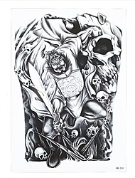 1pc Body Art Tattoo Ghost Hunter Zhong Kui Skull Pattern Temporary Tattoo Women Men Body Painting Tattoo Sticker HB-224