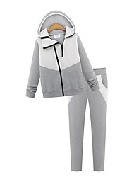 Women's Casual/Daily Street chic Spring / Fall Set Pant Suits,Patchwork Hooded Long Sleeve Black / Gray Cotton Thick