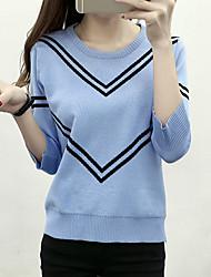 Damen Standard Pullover-Lässig/Alltäglich Einfach Niedlich Gestreift Blau Weiß Schwarz Rundhalsausschnitt ¾-Arm Polyester Herbst Winter