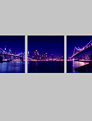 E-HOME® City Bridge Night Canvas Print with LED Lights Set of 3
