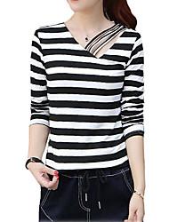 Damen Solide / Gestreift Einfach Lässig/Alltäglich T-shirt,V-Ausschnitt Herbst / Winter Langarm Weiß / Schwarz / Gelb Baumwolle Dünn