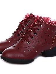 Keine Maßfertigung möglich Damen Jazz Leder Absätze Aufführung Blockabsatz Weiß Schwarz Beige Rot