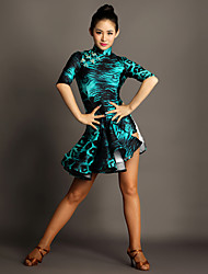 Latin Dance Dresses Women's Performance Spandex Buttons / Draped 1 Piece Leopard Print Half Sleeve