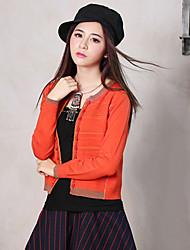 Damen Standard Pullover-Ausgehen Retro Solide Orange Rundhalsausschnitt Langarm Baumwolle / Kunstseide Frühling / Herbst Mittel