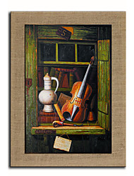 Oil Painting Modern Abstract Musical Instrument  Hand Painted Natural Linen With Stretched Frame