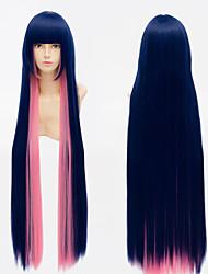 100cm del anime de panty&la repoblación con mezcla azul peluca de pelo peluca cosplay de la anarquía de la media liguero rosa recta