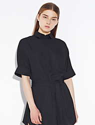 Women's Going out Simple Sheath DressSolid Shirt Collar Above Knee  Length Sleeve White / Black Polyester