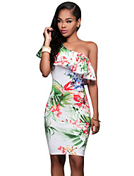 Women's Vibrant Floral Print Frill One Shoulder Midi Dress