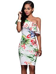 Women's Vibrant Floral Print Frill One Shoulder Midi Dress