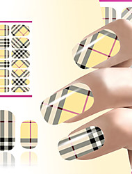 Hot sales Nail Art Decoration Water Transfer Nails sticker Nail Wraps Yellow Plaid Design Fingernail Decals
