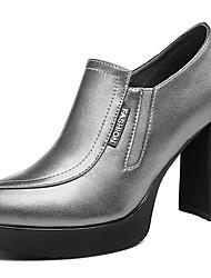 Черный / Серебристый-Женский-Для офиса / На каждый день-Синтетика-На толстом каблуке-На каблуках-Обувь на каблуках