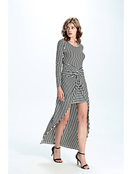 Women's Casual/Daily Simple Loose DressStriped Round Neck Asymmetrical Long Sleeve White Others Fall Mid