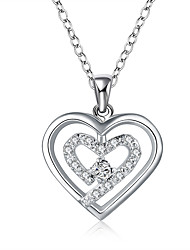 May Polly  Are double heart-shaped zircon crystal pendant necklace