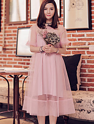 I'HAPPY Women's Going out Simple Loose DressSolid Round Neck Knee-length  Length Sleeve Pink