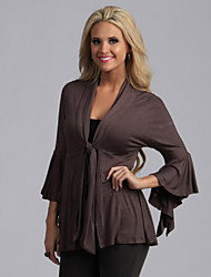 Women's Casual/Daily Sophisticated Fall JacketsSolid V Neck Long Sleeve Black / Brown / Gray Polyester Opaque