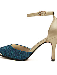 Damen-High Heels-Lässig-PU-Stöckelabsatz-Komfort-Blau / Gold