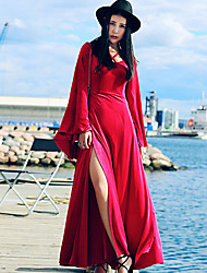 Whisper Wheat Women's Going out / Party/Cocktail Street chic Swing DressSolid V Neck Maxi Long Sleeve Red Rayon Fall