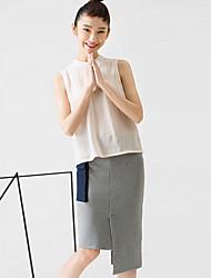 room404 Frauenfarbblock grau skirtssimple Knielänge / asymmetrisch