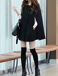 Manteau Femme,Couleur Pleine Manches Longues Noir Moyen Hiver
