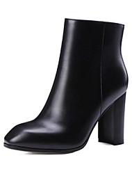 Women's Boots Spring Fall Winter Combat Boots Leather Outdoor Chunky Heel Black Brown