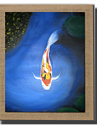 Modern Wall Art Fish Oil Painting Hand Painted On Natural Linen With Stretched Frame For Living Room