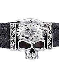 Genuine Leather Big Skeleton Skull Charm 316L Stainless Steel Bracelet Punk Rock Jewelry Fashion Men's Bracelet 2016