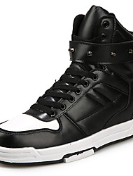 Men's Sneakers Comfort Synthetic Casual Flat Heel Lace-up Black / Red / White / Black and White Others
