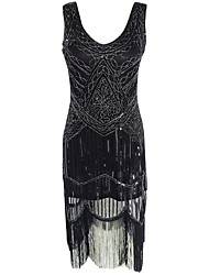Women's Formal / Party Sexy Sheath Dress,Solid U Neck Midi Sleeveless Black Polyester All Seasons High Rise Micro-elastic Medium